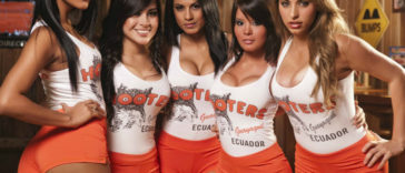5 Hooters Girl in red shorts and white t shirt